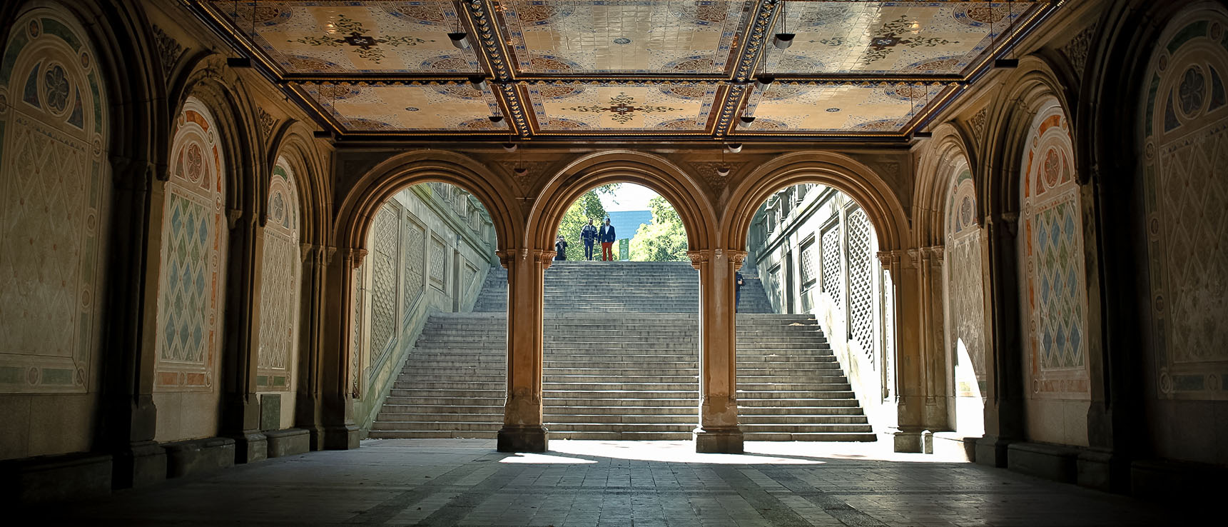 Central Park Bethesda stairs monument architecture new york manhattan