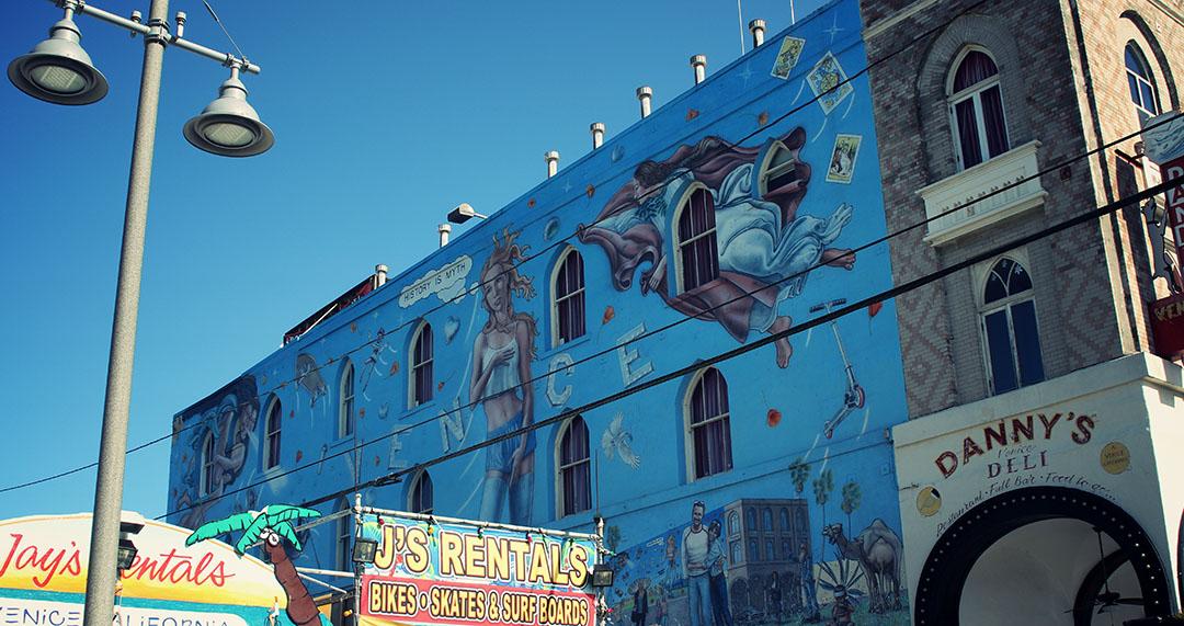 Blue Graffiti Street Art Venice Beach Los Angeles California