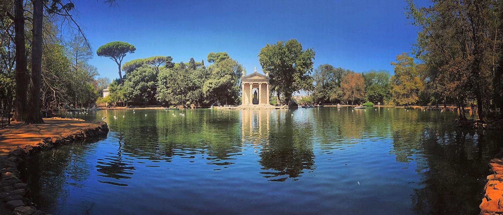 Jardins palais borghese lac rome italie