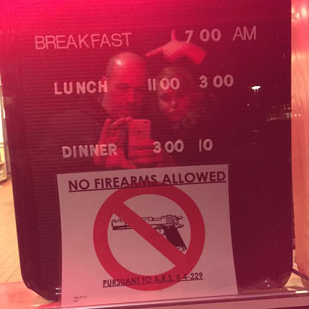 No Firearms allowed restaurant tusayan arizona road trip usa