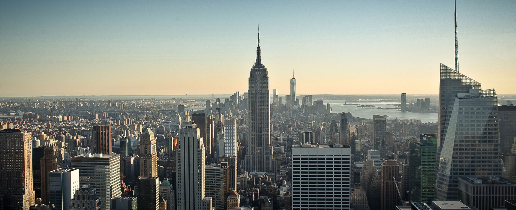 Top of the rock New York Manhattan skyline sunset