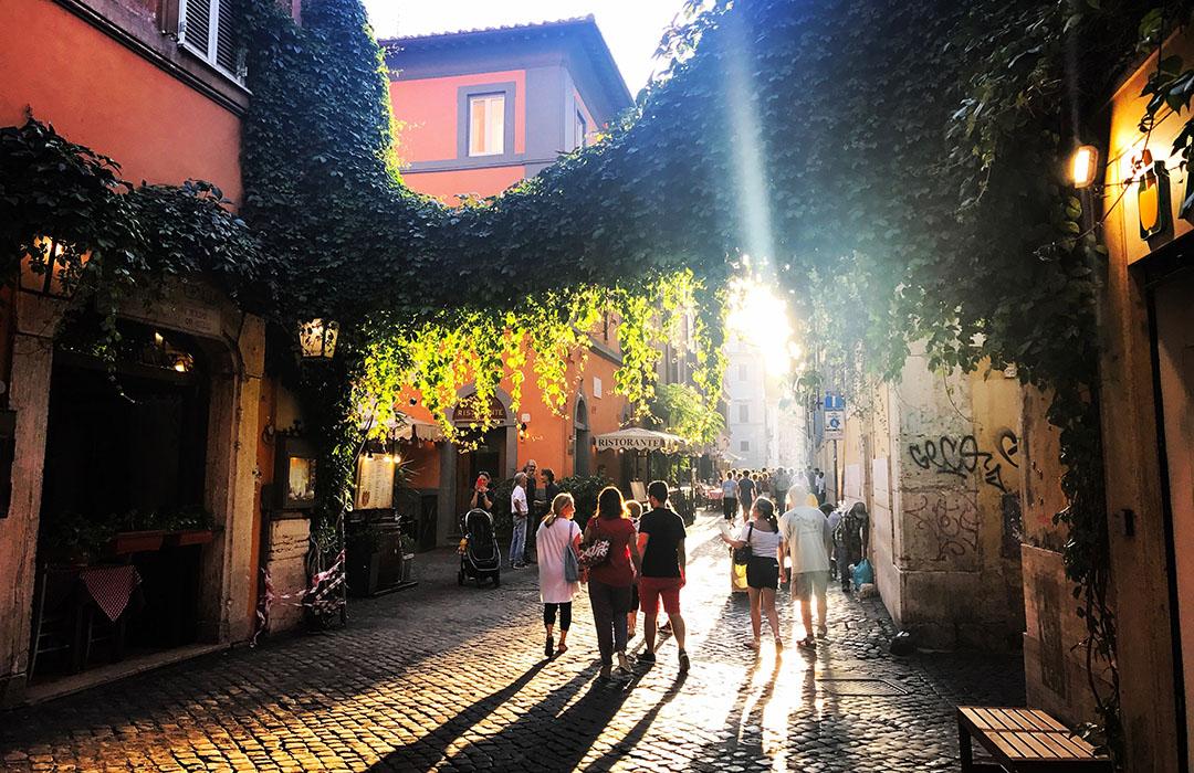 Trastevere Quartier Rome Italie Coucher de soleil